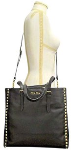 Miu Miu Calf Leather With Gold Pyramid Studs Removable Strap Tote in Black
