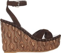 Miu Miu Suede Crisscross Wooden Wedge Sandals Brown Platforms