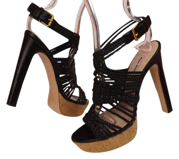 aa331eb1fd6 Miu Miu Black Black Black Braided Patent Leather Cage Heel Sandals  Platforms Size EU 37.5 (Approx. US 7.5) Regular (M