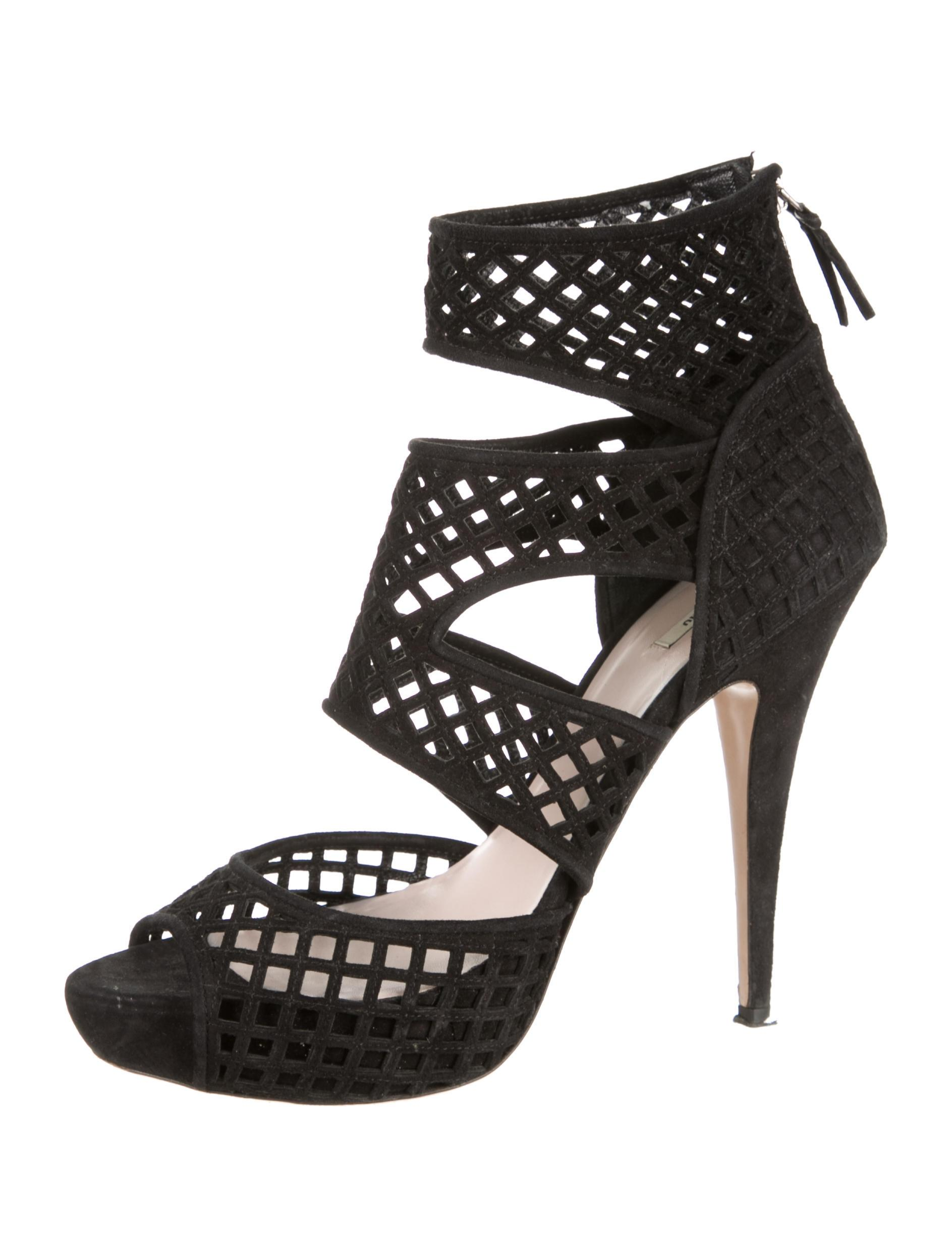 Miu Miu Suede Caged Sandals clearance big discount clearance affordable VpdjJFts0