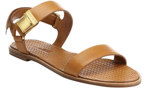 Miu Miu Brown Leather Double-strap Es 39 Sandals Size US 8.5 Regular (M, B)