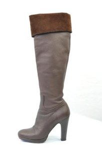 Miu Miu Leathersuede Cuffed High Heel Platform Tall Browns Boots