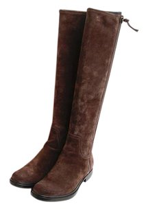 Miu Miu Suede Leather Zip Stacked Heel Knee High Riding Brown Boots