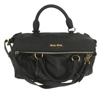 Miu Miu Leather Medium Bow Satchel in black