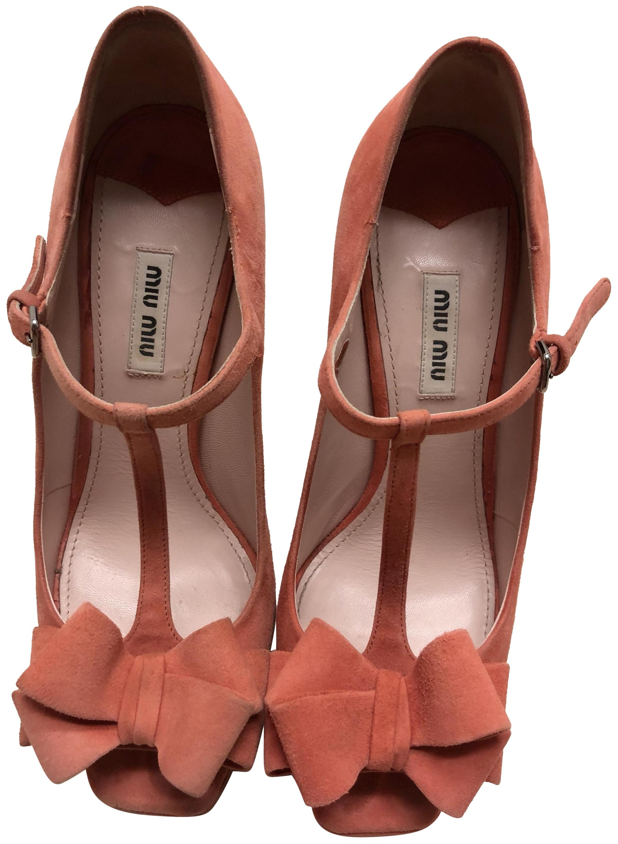 Miu Miu Orange and Pink Suede Mary Jane Peep Toe T-strap Bow Pumps Size EU 39 (Approx. US 9) Regular (M, B)