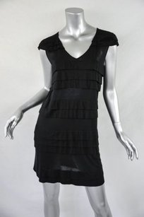 Miu Miu short dress Black Womens Modal Knit Tiered Ruffle Tunic Mini on Tradesy