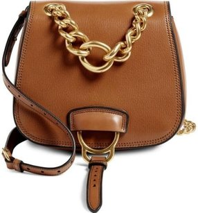 Miu Miu Aw16 Current Brandy Dahlia Tan Leather Saddle Shoulder Bag