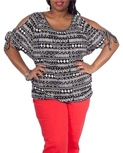 Moda International Cold Shoulder Aztec Plus-size Top Black and White