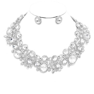 Modern Edge Crystal rhinestone bubble link collar evening necklace