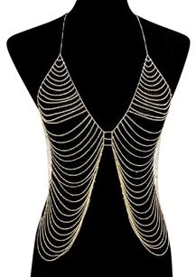 Modern Edge Draped metal body chain necklace
