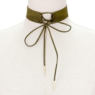 Modern Edge Lace up faux suede choker necklace