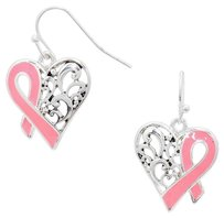 Modern Edge Pink Ribbon Heart Earrings