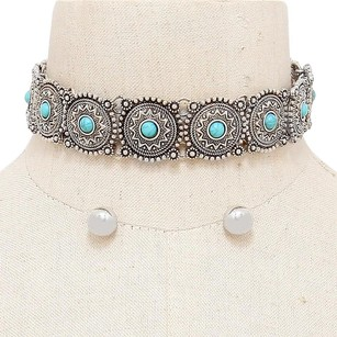 Modern Edge Tribal turquoise choker necklace