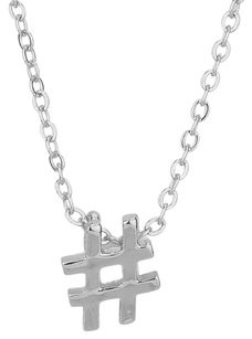 Modern Gems Silver-tone Hashtag Symbol Pendant Necklace
