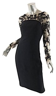 Black/Nude Maxi Dress by Monique Lhuillier Embroidered Top
