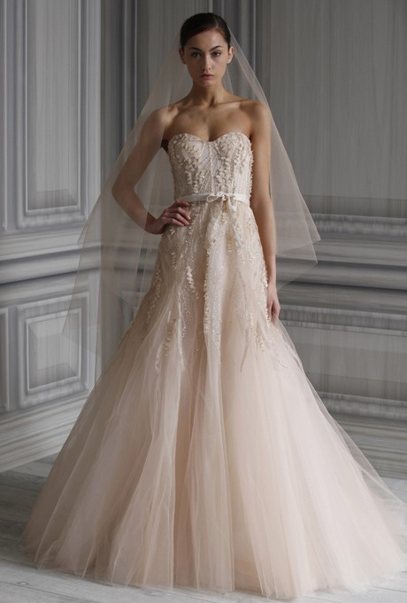 Perfect Monique Lhuillier Blush Tulle Candy Traditional Wedding Dress Size 0 (XS) Good Ideas
