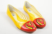 Moschino Yellow Leather Red Flats