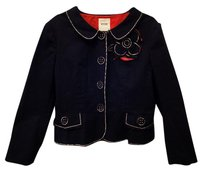 Moschino Italian Applique Lining Rare Collectors Item Navy Jacket