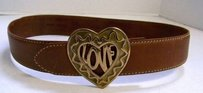 Moschino Moschino Redwall Italy Brown Leather Heart Love Belt