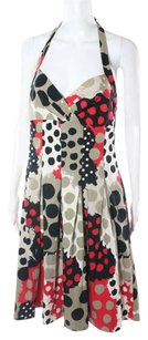 Moschino short dress Red, Black, Tan Polka Dot Cotton Pleated on Tradesy