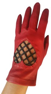 Moschino Red Soft Leather Women's Gloves Size 7