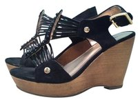Mossimo Supply Co. Gold Metallic Strappy BLACK FAUX LEATHER Wedges