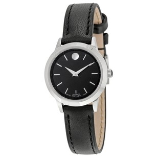Movado 1881 Automatic Black Dial Black Leather Ladies Watch MV0606923