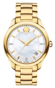 Movado Bellina Silver Dial with White Mother Of Pearl Center Yellow Gold Stainless Steel Ladies Watch