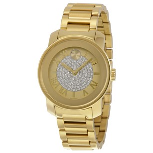 Movado Bold Gold Pave Dial Stainless Steel Ladies Watch MV3600255