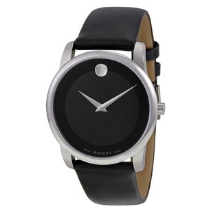Movado Movado Black Dial Leather Strap Mens Watch