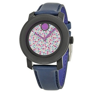 Movado Movado Bold Crystal Pave Dial Blue Leather Ladies Watch