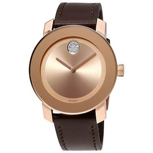 Movado Movado Bold Rose Gold-tone Dial Brown Leather Mens Watch