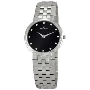 Movado Movado Faceto Black Dial Stainless Steel Mens Watch