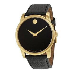 Movado Movado Museum Classic Black Dial Yellow Gold Pvd Mens Watch