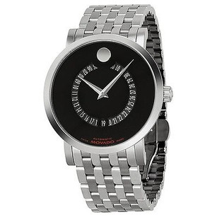 Movado Movado Red Label Automatic Black Dial Animated Date Stainless Steel Mens Watch
