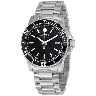 Movado Movado Series 800 Black Dial Stainless Steel Mens Watch