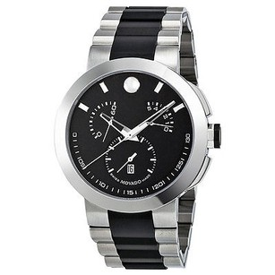 Movado Movado Verto Black Dial Chronograph Two Tone Stainless Steel Mens Watch