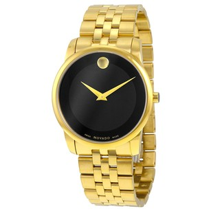 Movado Museum Classic Black Dial Stainless Steel Yellow PVD Men's Watch
