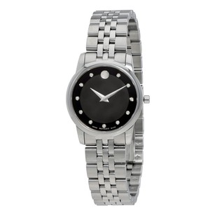 Movado Museum Quartz Black Dial Silver Stainless Steel Ladies Watch MV0606858