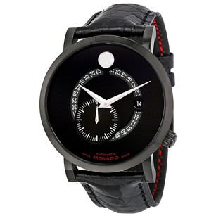 Movado Red Label Automatic Animated Date Small Seconds Black Dial Men's Watch