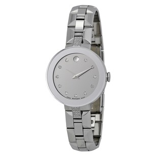 Movado Sapphire Silver Diamond Dial Stainless Steel Ladies Watch MV0606815