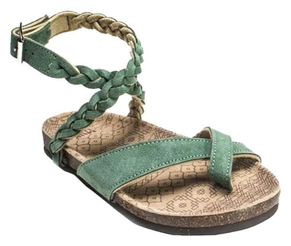 c2fda012edc4 Muk Luks Emerald Green Zara Zara Zara Braided Strappy Sandals Size US 9  0b347a