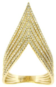 0.80CT DIAMOND 14K YELLOW GOLD DEEP V RING SIZE 7