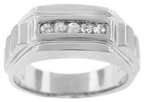14K WHITE GOLD 0.25CT DIAMOND MEN'S RING SIZE 10