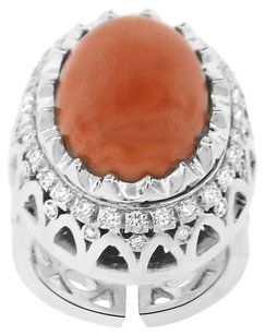 27.75CT CORAL 18K WHITE GOLD AND DIAMOND COCKTAIL RING SIZE 7