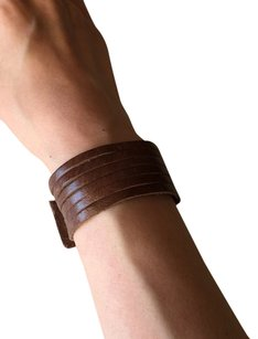 Nakamol Adjustable Leather Strips Cuff - Distressed Brown