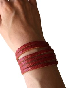 Nakamol NEW! Adjustable Leather Strips Cuff - Rust
