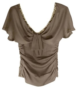 Nanette Lepore Beaded Ruched Silk Top Taupe