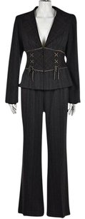 Nanette Lepore Nanette Lepore Womens Brown Pant Suit 48 Wool Striped Blazer Trousers Wtw
