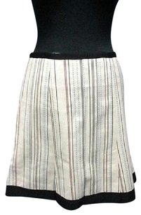Nanette Lepore Stripe Lined Box Pleat Side Zip 4564a Skirt ivory, black, light blue, burgundy
